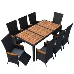 Komplet ogrodowy stół + 8 krzeseł emir ii polirattan czarny