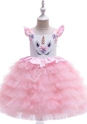 Jasno różowy jednorożec sukienka dla dziewczynki