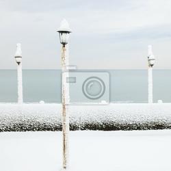 Fototapeta lampa pokryta śniegiem na plaży oceanu w zimie