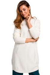 Ecru wygodny sweter z półgolfem