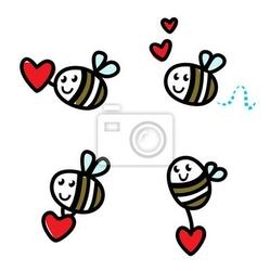 Naklejka pszczoła latający doodle ładny zestaw z walentynki czerwone serce