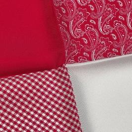Elegancka czerwona i biała poszetka w cztery wzory