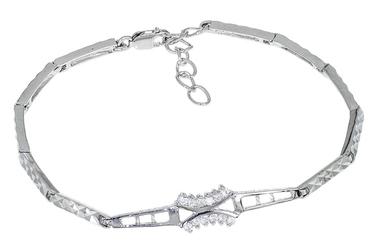 Rodowana srebrna bransoletka z cyrkoniami