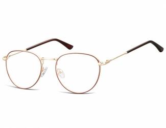 Okulary oprawki owalne lenonki optyczne 920 złoto-bordowe