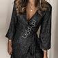 Czarna sylwestrowa krótka sukienka cekinowa 071
