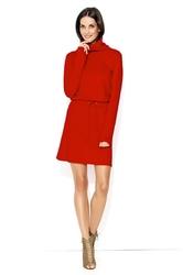 Dresowa sukienka wiązana z golfem - czerwona