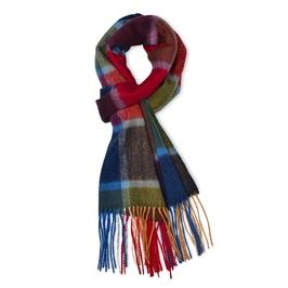 Elegancki kolorowy szal kaszmirowy w kratkę czerwień-zieleń-niebieski