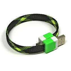 Kabel USB 2.0, USB A  M- USB micro M, 0.25m, czarny-neon, Logo, blistr, na nadgarstek
