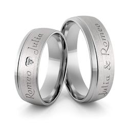 Obrączki ślubne z białego złota niklowego z imionami i sercem - au-989