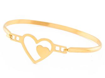 Bransoletka sztywna stal nierdzewna złote serce - złote serce