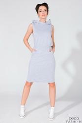 Jasnoszara Dresowa Sukienka z Kapturem