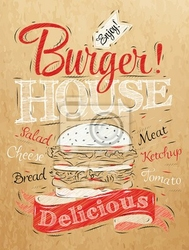 Plakat poster napis burger house malowane z hamburgera i inscr
