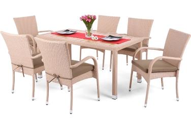 Zestaw ogrodowy stół + 6 krzeseł ariela beżowy
