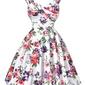 Sukienka pin-up , swingdress, retro w różowe i fioletowe kwiaty, 024