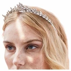 OPASKA do włosów KRYSZTAŁKI listki ŚLUBNA srebrna