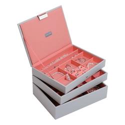 Pudełko na biżuterię potrójne classic Stackers szaro-koralowe