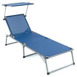 Leżak składany  z baldachimem niebieski 192x66x31 cm