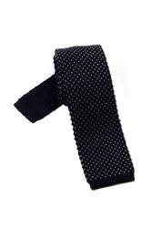 Granatowy krawat knit hemley w białe kropeczki