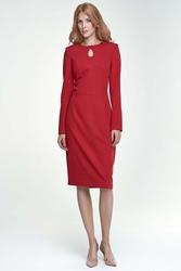 Czerwona sukienka  wizytowa ołówkowa z łezką