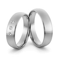 Obrączki ślubne platynowe klasyczne zaokrąglone 5 mm z brylantami - pt-11