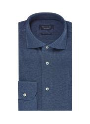 Elegancka niebieska koszula męska z dzianiny SLIM FIT 43