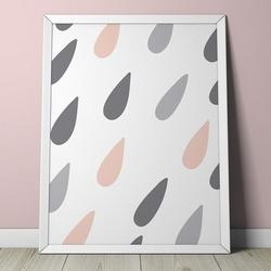Pastelowe kropelki - plakat dla dzieci , wymiary - 70cm x 100cm, kolor ramki - biały