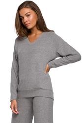 Dzianinowy sweterek z dekoltem v - szary