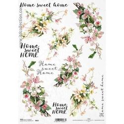 Papier ryżowy ITD A4 R863 kwiaty napisy