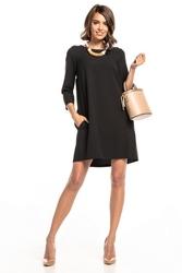 Sukienka marszczona na plecach z kieszeniami t326 czarny