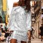 Srebrna krótka sukienka cekinowa 1140