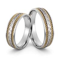 Obrączki srebrne z złotymi warkoczami i greckim wzorem - wzór ag-405