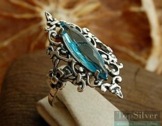 Anastazja - srebrny pierścionek z akwamarynem