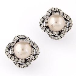 Kolczyki zircon pearl gold - gold