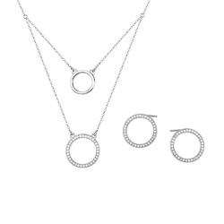 komplet biżuterii koła rodowane srebro 925 z cyrkoniami