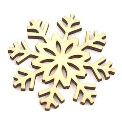 Drewniana dekoracja świąteczna płatek śniegu 6,3 cm