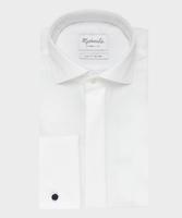 Elegancka biała koszula do muchy z krytą listwą i mankietami na spinki - michaelis 37