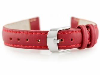 Pasek skórzany do zegarka W83 - czerwony - 16mm