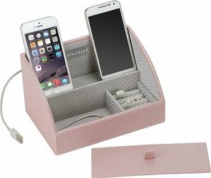 Stacja dokująca i pudełko na biżuterię mini Stackers różowo-szare
