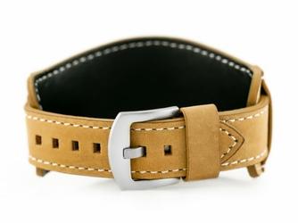 Pasek skórzany do zegarka W84 - podkładka - beżowybiały - 20mm