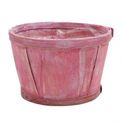 Osłonka na doniczkę wiklinowa - różowa