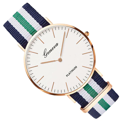 Zegarek damski męski GENEVA nylon zielony złoty - zielony