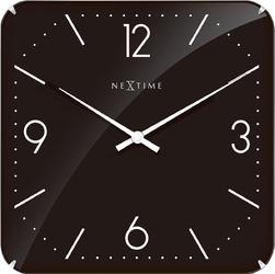 Kwadratowy zegar ścienny Basic Dome Nextime 35 x 35 cm, czarny 3175