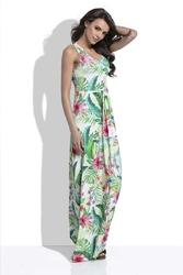 Biała Długa Letnia Sukienka w Tropikalne Wzory