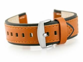 Pasek skórzany do zegarka W80 brązowyczarny 22mm
