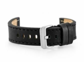 Pasek skórzany do zegarka W48 - PREMIUM - czarnyczarne - 20mm