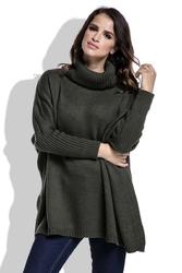 Oliwkowy Sweter Ciepły Luźny z Golfem
