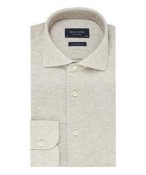 Elegancka beżowa koszula męska z dzianiny SLIM FIT 40