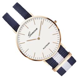 Zegarek damski męski GENEVA nylon granatowy biały - granatowy