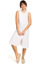 Biała Mini Sukienka z Guzikami