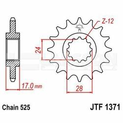 Zębatka przednia JT F1371-15, 15Z, rozmiar 525 2200486 Honda CBF 600